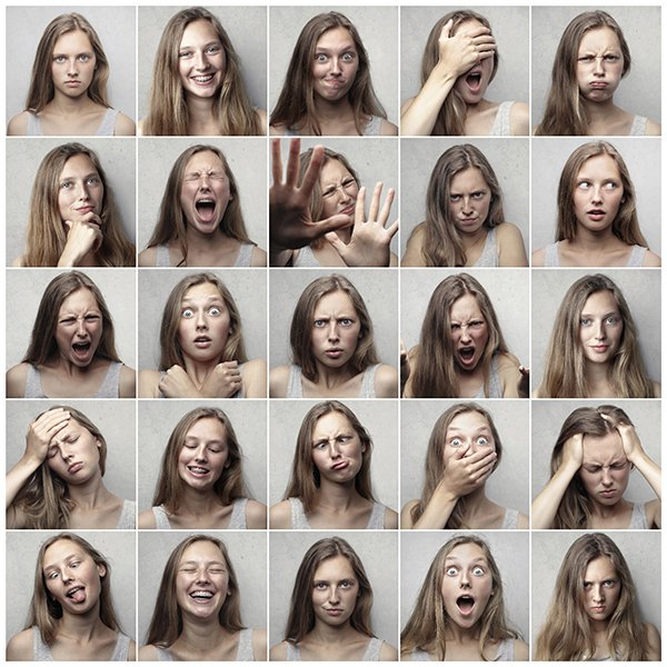 A collage of images with a girl making different facial expressions